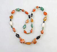 8325333 Chain with Agate Carnelian - and Malachitperlen L 68 Cm