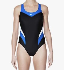 Nike Swim Victory Blue/Black Power Back Tank One Piece Swimsuit 38/ Women's 12