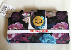 Buxton Midnight Rose Super Wallet Turn lock & RFID Protection NWT