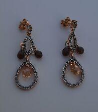 Clear Crystal, Long Stud Silver Earrings Genuine Murano Glass Jewellery - Brown,