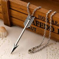 Antique Silver Arrow Necklace Chain Navajo Charm Pendant Sagittarius Jewelry