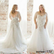 Plus Size Wedding Dress Half Sleeve Champagne Lace Train Bride Gown Custom Made