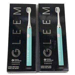 Gleem Soft Bristles Built-In Timer Pulses Power Electric Toothbrush Aqua 2 PACK