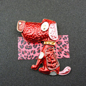 New Red Enamel Exquisite Dog Betsey Johnson Charm Brooch Pin Gifts