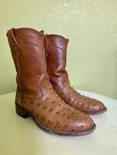 Larry Mahan Full Quill Ostrich Boots Size 8D Cognac Brown