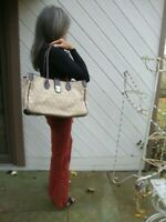 Large Wide Dooney & Bourke Tan Canvas Tote Shoulder Bag
