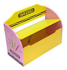 Kiddi Style Childrens Crayon Wooden Toy Box, Storage Unit, Bench+Chair-NEW Kids
