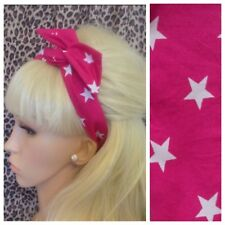 PINK WHITE STAR PRINT BENDY HAIR WRAP WIRED SCARF HEADBAND 50s RETRO ROCKABILLY