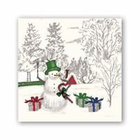 MacKenzie-Childs 20 Tri-Ply Paper Cocktail Napkins Courtly Check Christmas Gnome