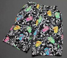 M * NOS vtg 80s 1989 THE ROLLING STONES all over print shorts * matches shirt