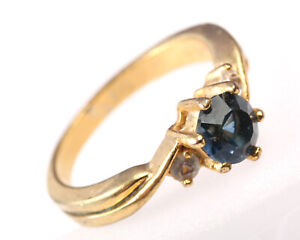 Vintage 1960s Gold Plated Ring with Blue Cubic Zirconia, Size Q, US 8