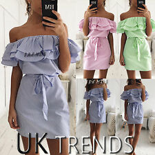 UK Women Striped Off Shoulder Frill Ruffle Belted Bardot Beach Dress Size 6 - 14