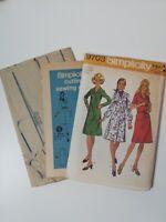 Vintage 1970s Sleeve Dress UNCUT Pattern Simplicity 9703 Miss Size 14 Bust 36
