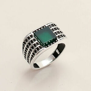 Natural Algeria Green onyx Mens Ring 925 Sterling Silver Turkish Ottoman Jewelry