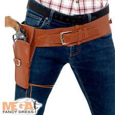 Funda marrón con cinturón para hombre Disfraz Vaquero Salvaje Oeste Rodeo Adultos Accesorio
