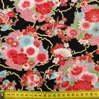 Japanese oriental metallic gold Sakura fabric cotton fat quarter FQ F0056