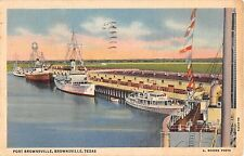 1937 Ships in Harbor Pier Port Brownsville Brownsville TX post card