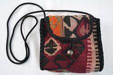Shoulder Bag Handmade Kilim Turkish  Rug Purse 100 Wool Toggle Clasp