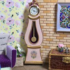 Dollhouse miniature Swedish Mora longcase working clock - 1:12 scale - Pink