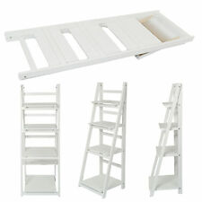4 TIER WHITE LADDER SHELF DISPLAY UNIT FREE STANDING/FOLDING BOOK STAND/SHELVES