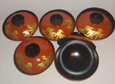 Vintage japanese Lacquer Ware Rice Bowls With Lids (5)
