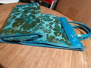 Vintage Avon Tapestry Bag Tote Showcase Turquoise Blue & Green pre-owned