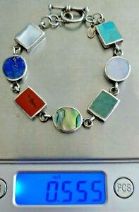 "Bracelet Sterling Silver and Multi Color Bezel Gemstone w/Toggle Clasp 7.25"""