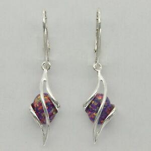 xxx FIRE OPAL Oval Dangle Earrings 925 STERLING SILVER Leverback #244e