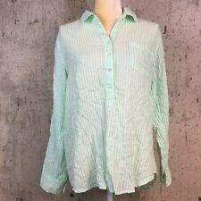 J. Crew Womens 12 Popover Shirt Green White Striped Tab Long Sleeve #77701 (B)