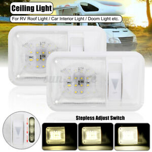 2x Indoor Dimmer RV Interior Single Dome LED Ceiling Light 12V Caravan