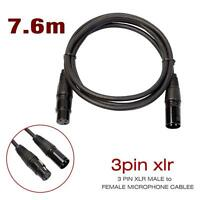 25FT XLR Male to Female 3 PIN MIC Shielded Cable 25ft Microphone Audio Cord GA