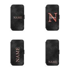 Flip wallet phone case Personalised name initial Monogram & Black Background L34