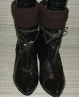 WOMENS AUBERGINE PULL ON SYNTHETIC ANKLE BOOTS SIZE:6/39(WB3391)