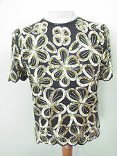 VINTAGE WOMENS SZ MEDIUMLAURENCE KAZAR SEQUIENED S/S SPECIAL OCCASSION TOP NICE