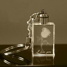 Cute Glass 3D Laser Crystal Rose LED Light Pendant Key Chain Key Ring Gift Hot