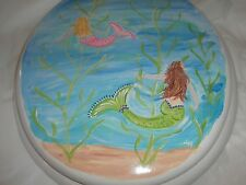 HAND PAINTED SWIMMING MERMAIDS. USA SEALED WHITE STANDARD  TOILET SEAT