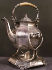 1800's Silver Repousse Holloware Samovar Kettle Stand Coffee Tea Pot Tilting 19c