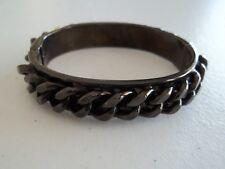 "Signed ""KCR"" Hinged Bangle Bracelet, Black Enamel Over Metal,Chain Design"