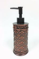 NEW RESIN BROWN+COPPER TONE,FLEUR DE LIS ,SAINTS,BATHROOM SOAP,LOTION DISPENSER