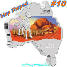 2016 Australia Map Shaped Series Dingo 1oz Silver Coin Perth Mint COA & Box!!