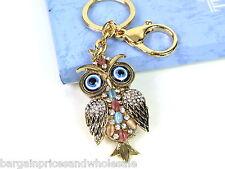 Large Multi owl Keyring Sparkling Rhinestone Diamante Handbag Buckle Charm