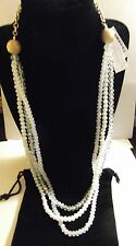 """Charter Club Gold Tone Sandblasted & Opalescent Crystal 3 Row Necklace,NWT 38""""+"""