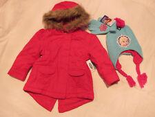 NWT Girl 's Coat Jacket 3T Frozen Elsa Hat Gloves Set Lot Pink Blue Hooded Warm