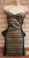 BOOHOO BLACK GOLD TRIBAL SPARKLY PEPLUM BODYCON PARTY TUBE AZTEC DRESS 14 L