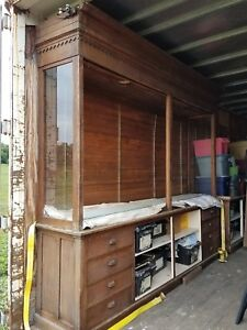 Old oak store cabinets 9' tall and 10' wide around 100 years old