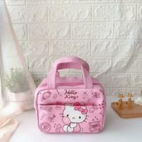 Cute Hello Kitty Makeup Lunch Bag Bento Box Handbag Insulation PU Leather Tote