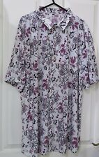 PINK AND GREY FLORAL ON WHITE SHIRT TOP SHORT SLEEVE Size 20 - 22