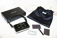 2350$ Prada Raso Ricamo Satin Camera Case Box Clutch,Black, Rare, New, 100% Auth