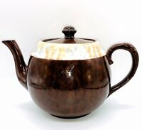 """Antique Gibsons Made in England Marbleized Brown Betty Teapot & Lid 5.5""""H  8.5""""L"""