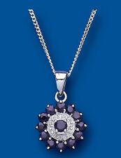 Zafiro Colgante Zafiro & Diamante Collar Plata De Ley Colgante + Cadena